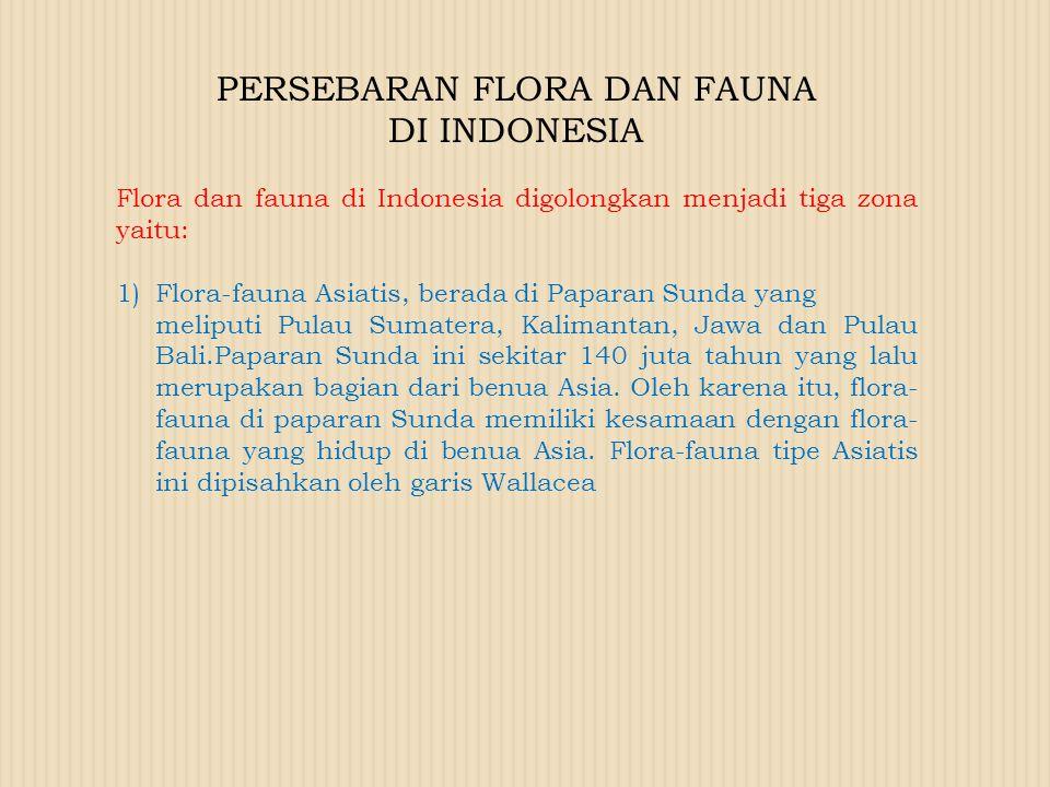 PERSEBARAN FLORA DAN FAUNA DI INDONESIA Flora dan fauna di Indonesia digolongkan menjadi tiga zona yaitu: 1)Flora-fauna Asiatis, berada di Paparan Sun