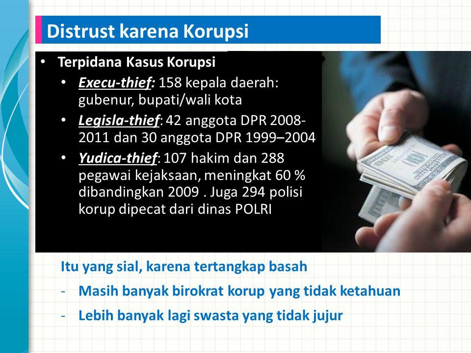 Terpidana Kasus Korupsi Execu-thief: 158 kepala daerah: gubenur, bupati/wali kota Legisla-thief: 42 anggota DPR 2008- 2011 dan 30 anggota DPR 1999–2004 Yudica-thief: 107 hakim dan 288 pegawai kejaksaan, meningkat 60 % dibandingkan 2009.