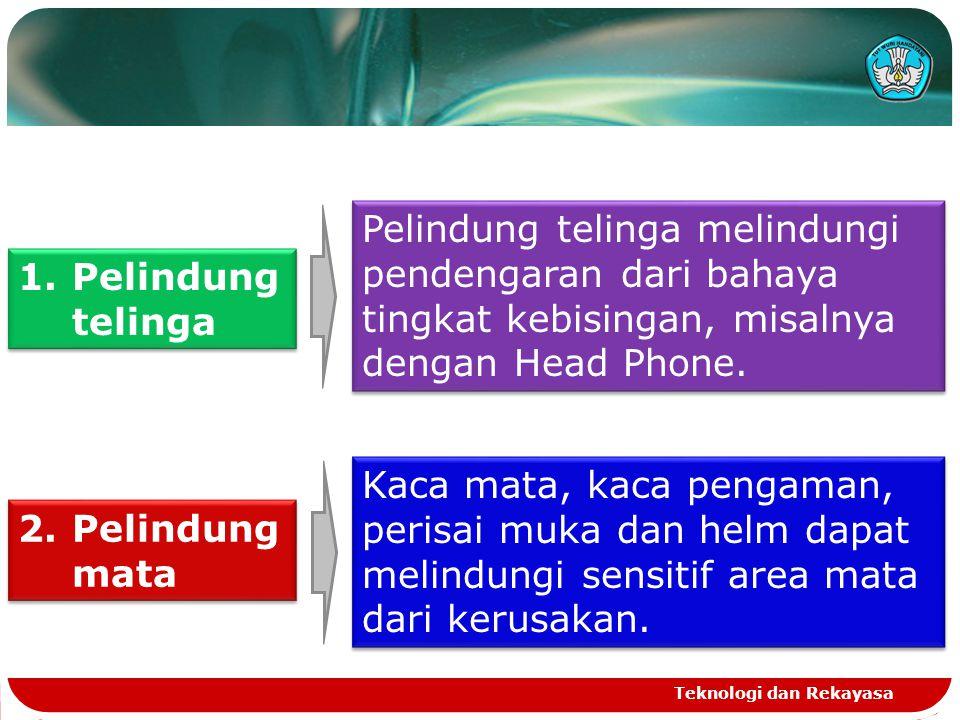 Pelindung telinga melindungi pendengaran dari bahaya tingkat kebisingan, misalnya dengan Head Phone. 1.Pelindung telinga 2.Pelindung mata Kaca mata, k