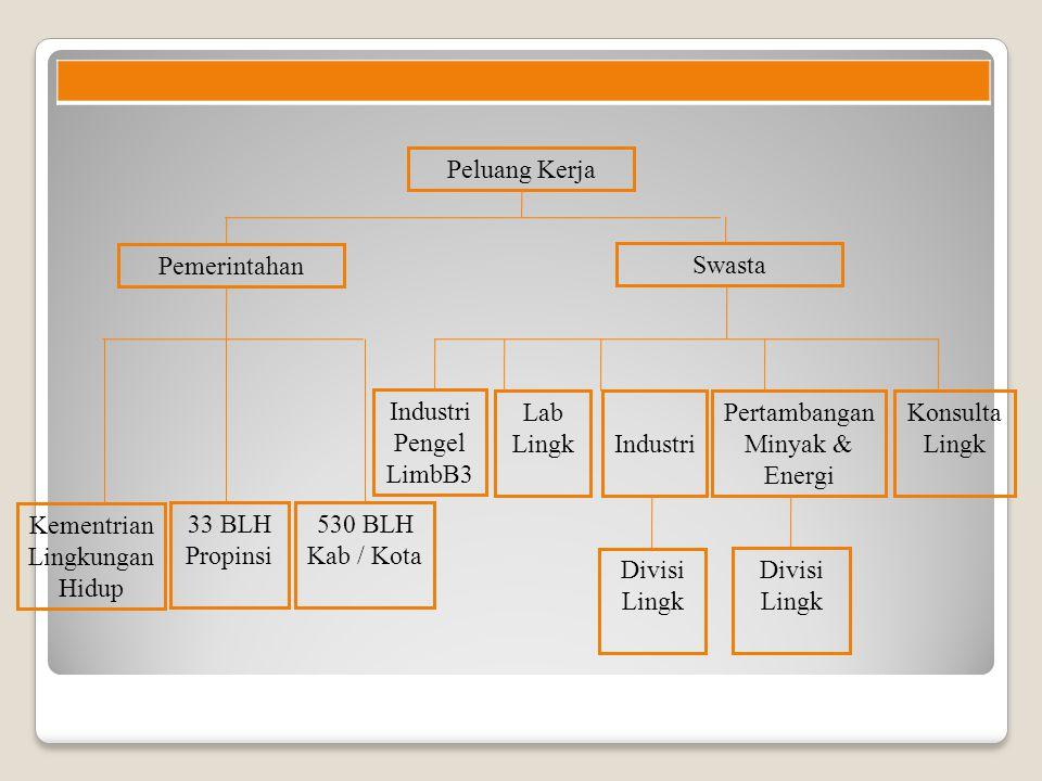 Peluang Kerja Pemerintahan Swasta Kementrian Lingkungan Hidup 33 BLH Propinsi 530 BLH Kab / Kota Industri Pertambangan Minyak & Energi Konsulta Lingk Divisi Lingk Lab Lingk Industri Pengel LimbB3
