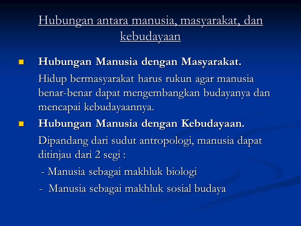 Hubungan antara manusia, masyarakat, dan kebudayaan Hubungan Manusia dengan Masyarakat.