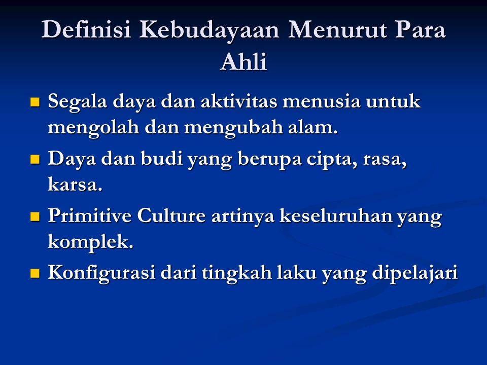 Definisi Kebudayaan Menurut Para Ahli Segala daya dan aktivitas menusia untuk mengolah dan mengubah alam.