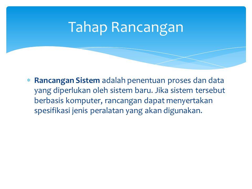  Rancangan Sistem adalah penentuan proses dan data yang diperlukan oleh sistem baru.