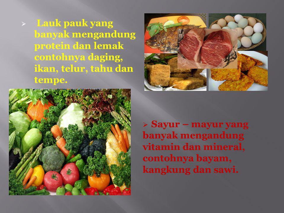 Menu makanan bergizi seimbang terdiri dari bahan- bahan sebagai berikut :  Makanan Pokok yang mengandung karbohidrat, contohnya nasi, roti,jagung, ub