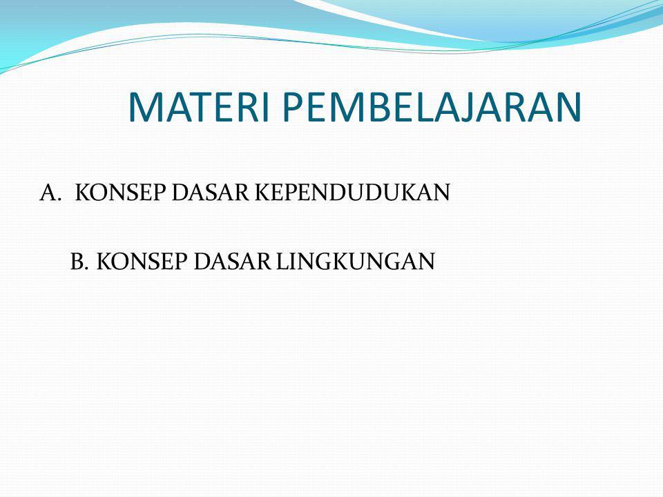 MATERI PEMBELAJARAN A. KONSEP DASAR KEPENDUDUKAN B. KONSEP DASAR LINGKUNGAN