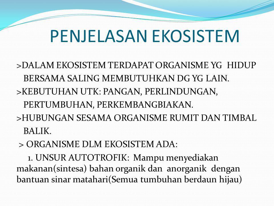 PENJELASAN EKOSISTEM >DALAM EKOSISTEM TERDAPAT ORGANISME YG HIDUP BERSAMA SALING MEMBUTUHKAN DG YG LAIN.