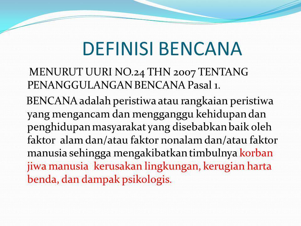 DEFINISI BENCANA MENURUT UURI NO.24 THN 2007 TENTANG PENANGGULANGAN BENCANA Pasal 1.