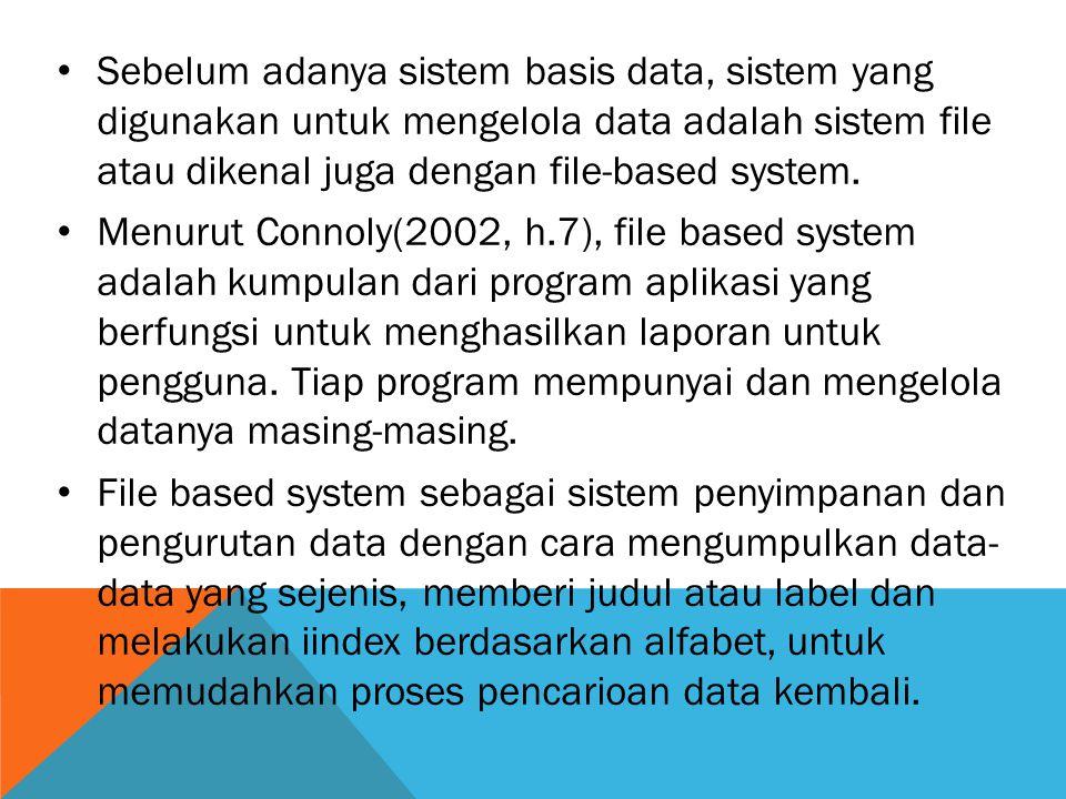 Sebelum adanya sistem basis data, sistem yang digunakan untuk mengelola data adalah sistem file atau dikenal juga dengan file-based system. Menurut Co