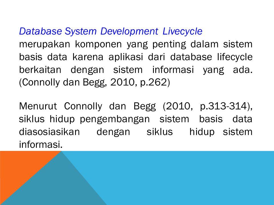 Database System Development Livecycle merupakan komponen yang penting dalam sistem basis data karena aplikasi dari database lifecycle berkaitan dengan