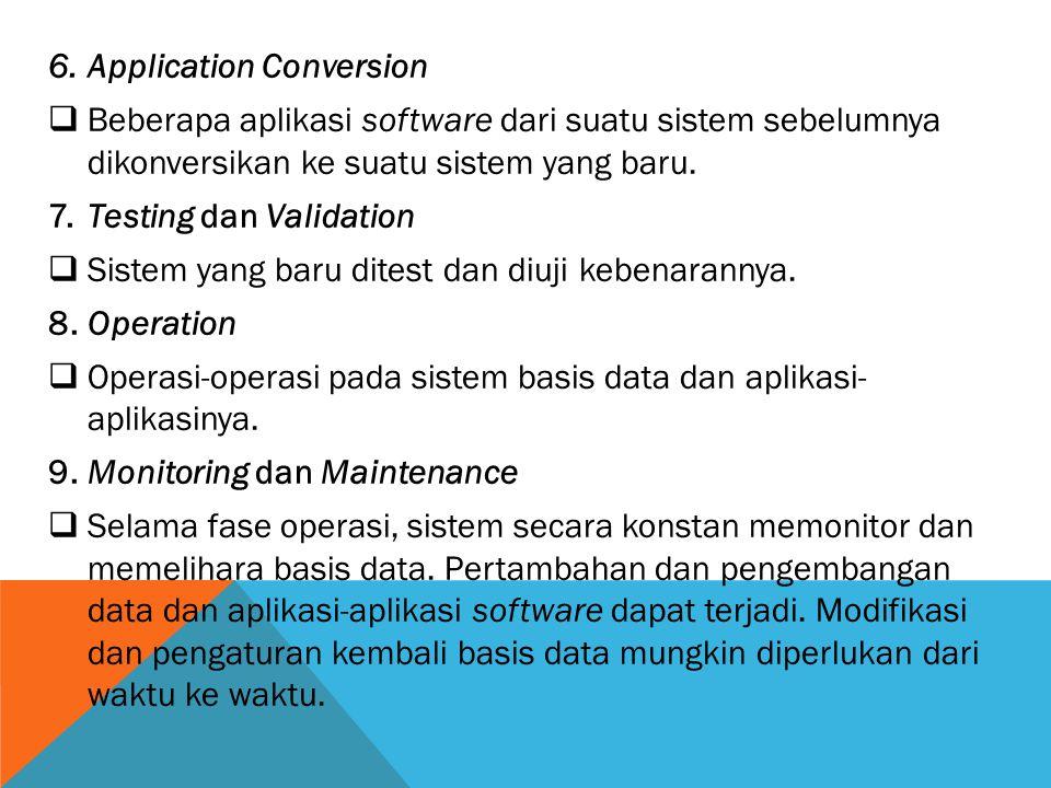 6.Application Conversion  Beberapa aplikasi software dari suatu sistem sebelumnya dikonversikan ke suatu sistem yang baru. 7.Testing dan Validation 