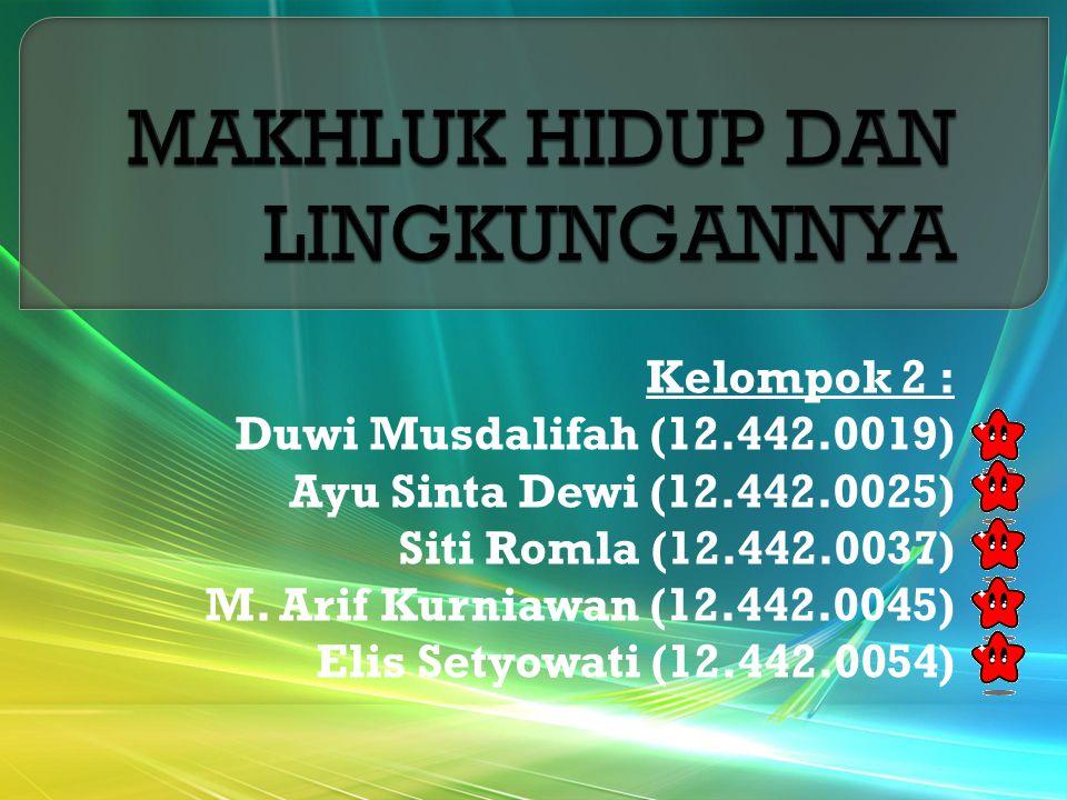 Kelompok 2 : Duwi Musdalifah (12.442.0019) Ayu Sinta Dewi (12.442.0025) Siti Romla (12.442.0037) M.
