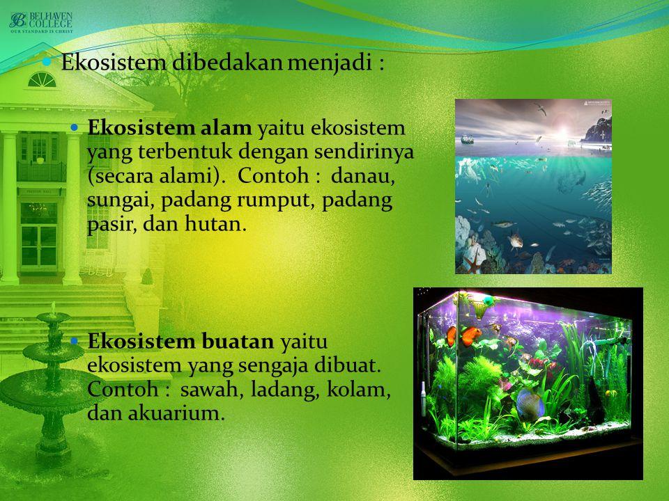 Ekosistem dibedakan menjadi : Ekosistem alam yaitu ekosistem yang terbentuk dengan sendirinya (secara alami).