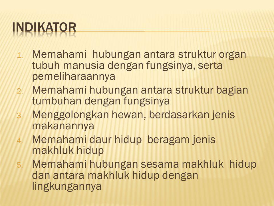 1. Memahami hubungan antara struktur organ tubuh manusia dengan fungsinya, serta pemeliharaannya 2. Memahami hubungan antara struktur bagian tumbuhan