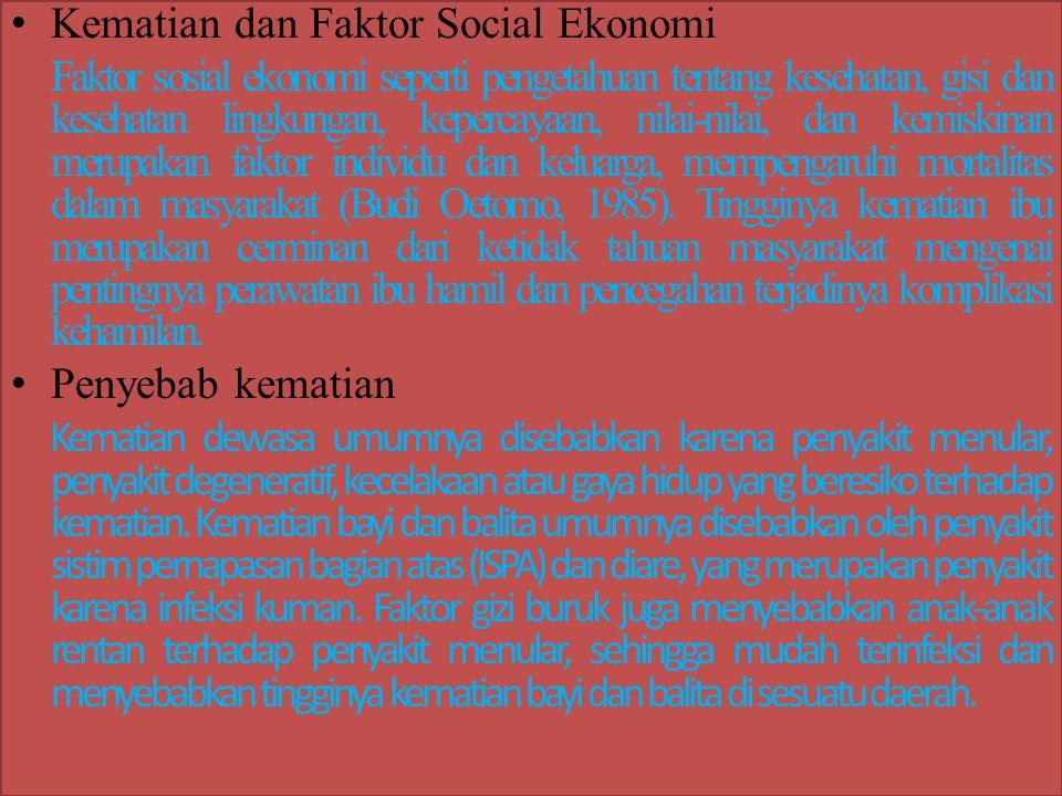 Kematian dan Faktor Social Ekonomi Faktor sosial ekonomi seperti pengetahuan tentang kesehatan, gisi dan kesehatan lingkungan, kepercayaan, nilai-nila