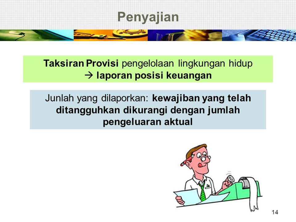Penyajian 14 Taksiran Provisi pengelolaan lingkungan hidup  laporan posisi keuangan Junlah yang dilaporkan: kewajiban yang telah ditangguhkan dikuran