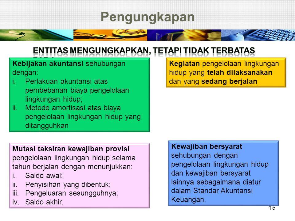 Pengungkapan 15 Kebijakan akuntansi sehubungan dengan: i.Perlakuan akuntansi atas pembebanan biaya pengelolaan lingkungan hidup; ii.Metode amortisasi