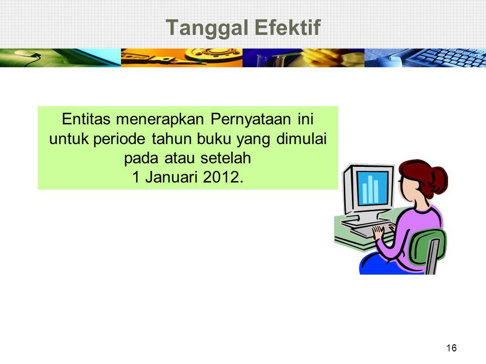 Tanggal Efektif 16 Entitas menerapkan Pernyataan ini untuk periode tahun buku yang dimulai pada atau setelah 1 Januari 2012.