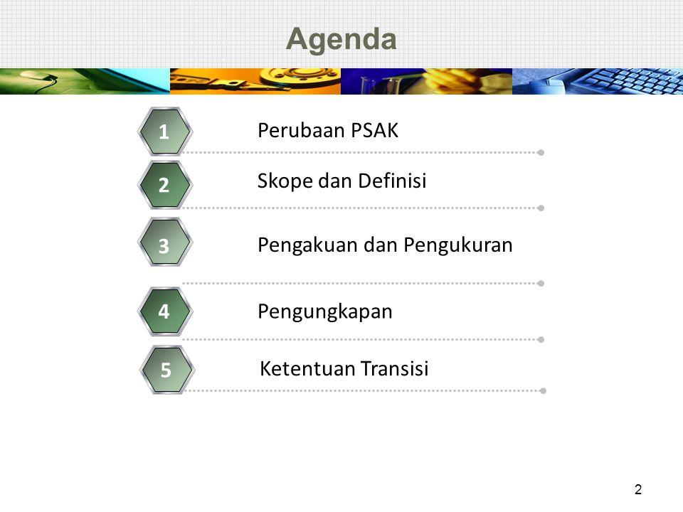 Agenda Perubaan PSAK 1 Skope dan Definisi 2 Pengakuan dan Pengukuran 3 Pengungkapan 4 2 Ketentuan Transisi 5