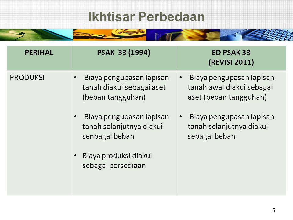 Ikhtisar Perbedaan 6 PERIHALPSAK 33 (1994)ED PSAK 33 (REVISI 2011) PRODUKSI Biaya pengupasan lapisan tanah diakui sebagai aset (beban tangguhan) Biaya