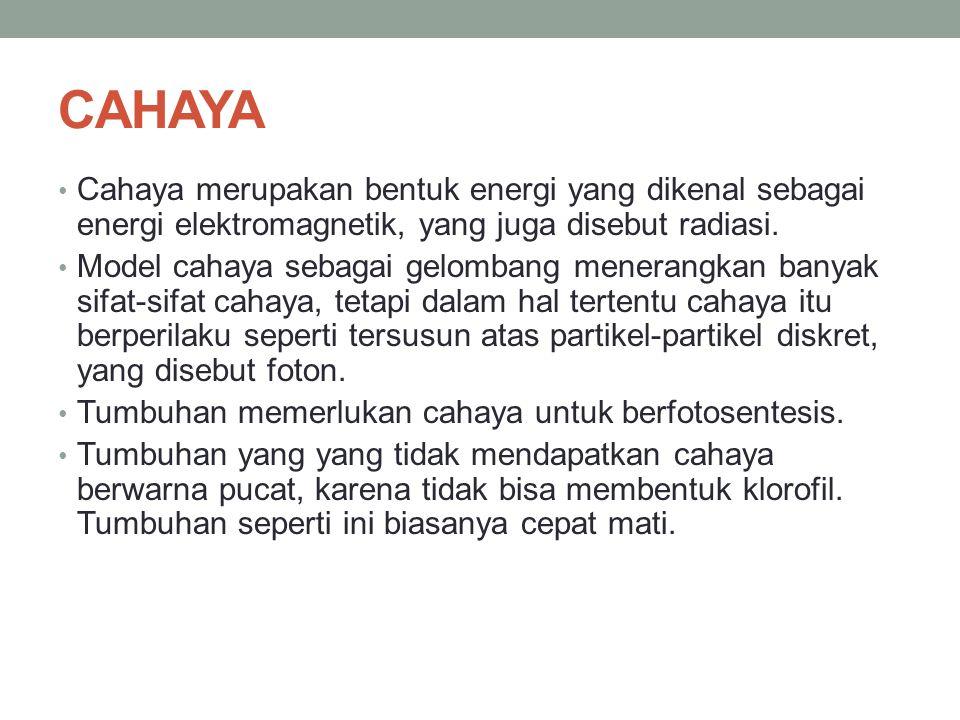 CAHAYA Cahaya merupakan bentuk energi yang dikenal sebagai energi elektromagnetik, yang juga disebut radiasi. Model cahaya sebagai gelombang menerangk