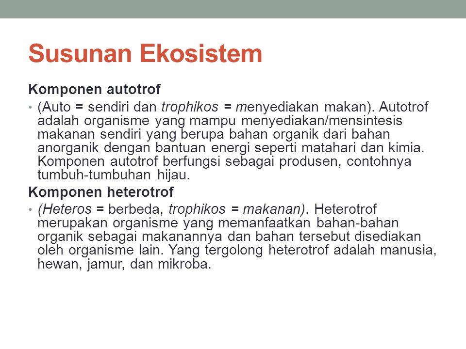 Susunan Ekosistem Komponen autotrof (Auto = sendiri dan trophikos = menyediakan makan). Autotrof adalah organisme yang mampu menyediakan/mensintesis m