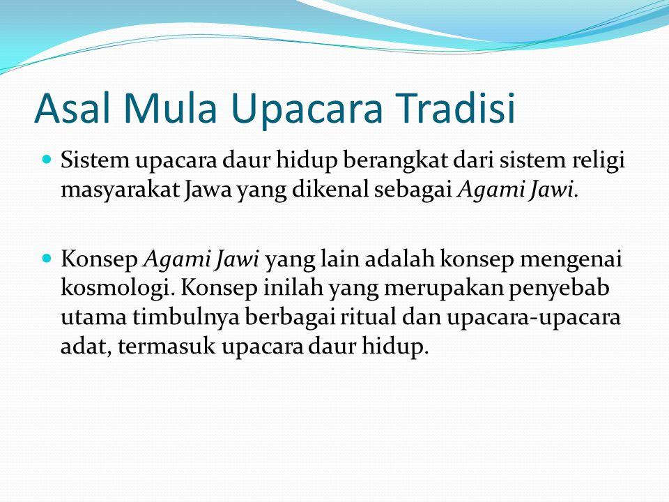 Asal Mula Upacara Tradisi Sistem upacara daur hidup berangkat dari sistem religi masyarakat Jawa yang dikenal sebagai Agami Jawi. Konsep Agami Jawi ya