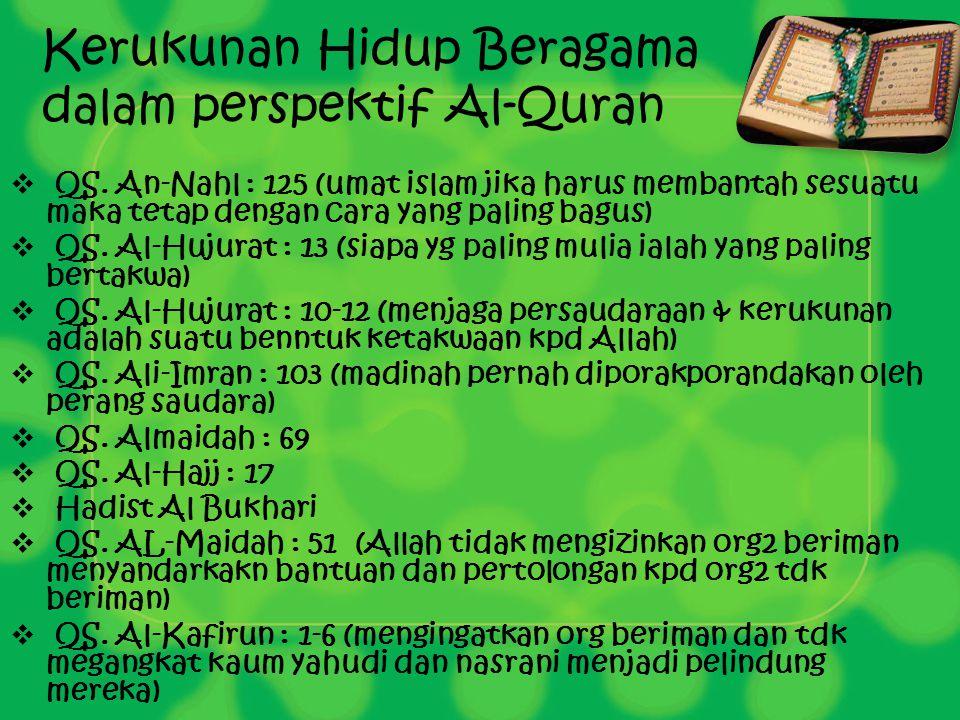 Kerukunan Hidup Beragama dalam perspektif Al-Quran  QS. An-Nahl : 125 (umat islam jika harus membantah sesuatu maka tetap dengan cara yang paling bag