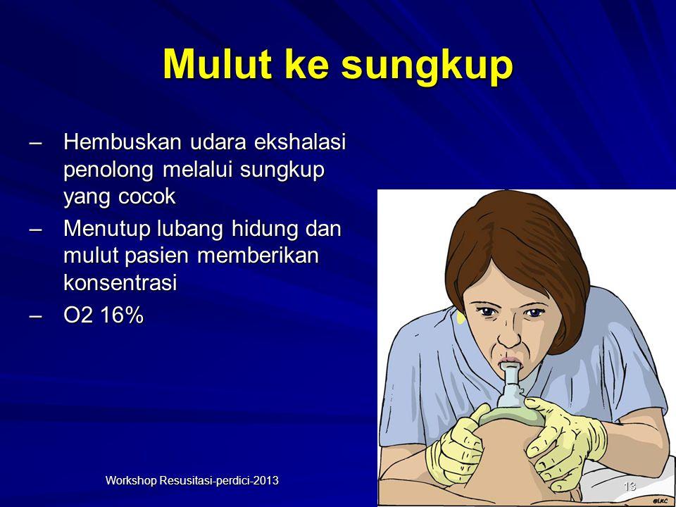 Mulut ke sungkup –Hembuskan udara ekshalasi penolong melalui sungkup yang cocok –Menutup lubang hidung dan mulut pasien memberikan konsentrasi –O2 16%