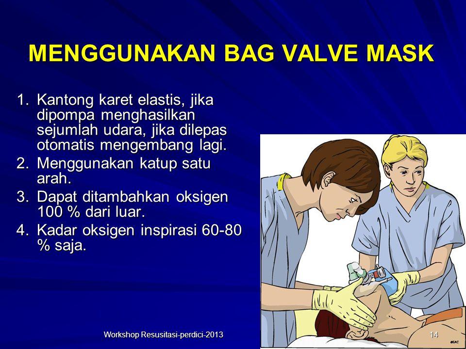 MENGGUNAKAN BAG VALVE MASK Workshop Resusitasi-perdici-2013 1.Kantong karet elastis, jika dipompa menghasilkan sejumlah udara, jika dilepas otomatis m
