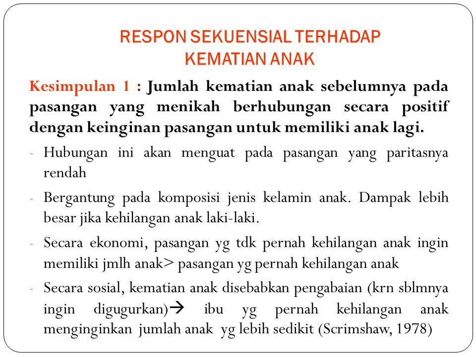RESPON SEKUENSIAL TERHADAP KEMATIAN ANAK Kesimpulan 1 : Jumlah kematian anak sebelumnya pada pasangan yang menikah berhubungan secara positif dengan k