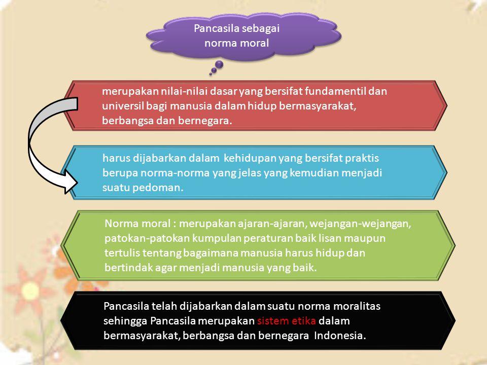 Pancasila sebagai norma moral merupakan nilai-nilai dasar yang bersifat fundamentil dan universil bagi manusia dalam hidup bermasyarakat, berbangsa da