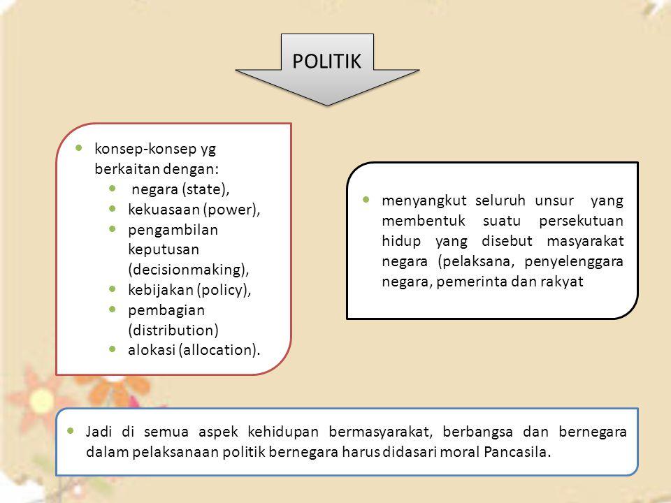 konsep-konsep yg berkaitan dengan: negara (state), kekuasaan (power), pengambilan keputusan (decisionmaking), kebijakan (policy), pembagian (distribut