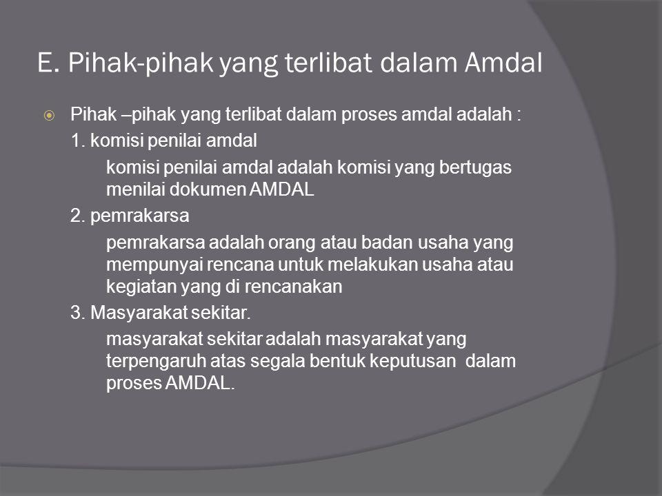 D. Tahapan Amdal  Tahapan amdal terdiri dari beberapa tahap yaitu: 1. Persiapan 2. Pelingkupan 3. Proses pengumuman dan konsultasi masyarakat 4. Peny