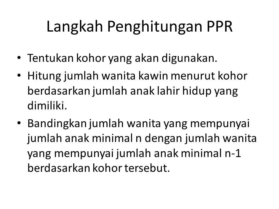 Langkah Penghitungan PPR Tentukan kohor yang akan digunakan. Hitung jumlah wanita kawin menurut kohor berdasarkan jumlah anak lahir hidup yang dimilik