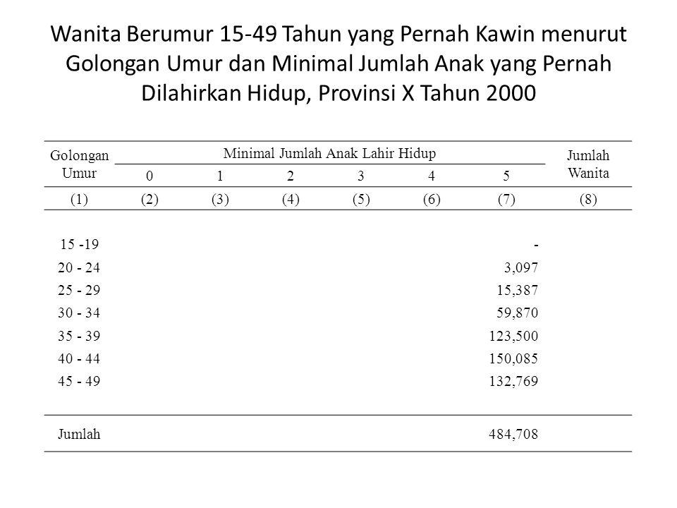 Wanita Berumur 15-49 Tahun yang Pernah Kawin menurut Golongan Umur dan Minimal Jumlah Anak yang Pernah Dilahirkan Hidup, Provinsi X Tahun 2000 Golongan Umur Minimal Jumlah Anak Lahir Hidup Jumlah Wanita 012345 (1)(2)(3)(4)(5)(6)(7)(8) 15 -19 - 20 - 24 3,097 25 - 29 15,387 30 - 34 59,870 35 - 39 123,500 40 - 44 150,085 45 - 49 132,769 Jumlah 484,708