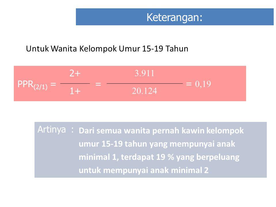 Keterangan: PPR (2/1) = 2+2+ = 3.911 = 0,19 1+1+ 20.124 Artinya: Dari semua wanita pernah kawin kelompok umur 15-19 tahun yang mempunyai anak minimal 1, terdapat 19 % yang berpeluang untuk mempunyai anak minimal 2 Untuk Wanita Kelompok Umur 15-19 Tahun