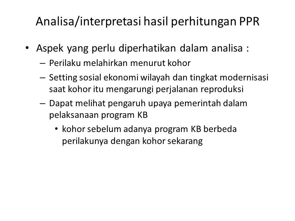 Analisa/interpretasi hasil perhitungan PPR Aspek yang perlu diperhatikan dalam analisa : – Perilaku melahirkan menurut kohor – Setting sosial ekonomi