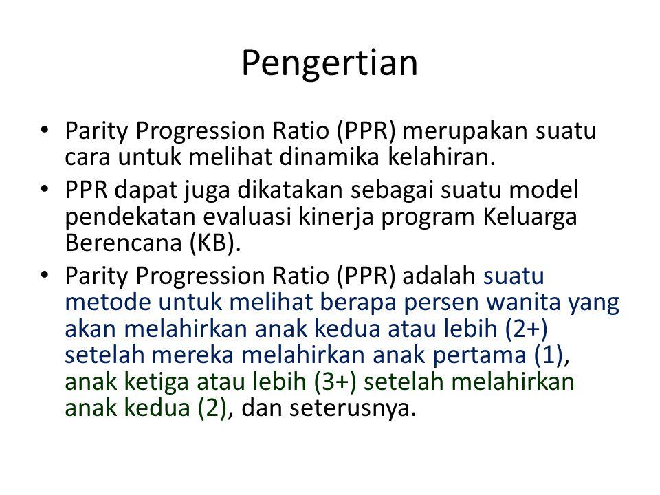 Pengertian Parity Progression Ratio (PPR) merupakan suatu cara untuk melihat dinamika kelahiran. PPR dapat juga dikatakan sebagai suatu model pendekat