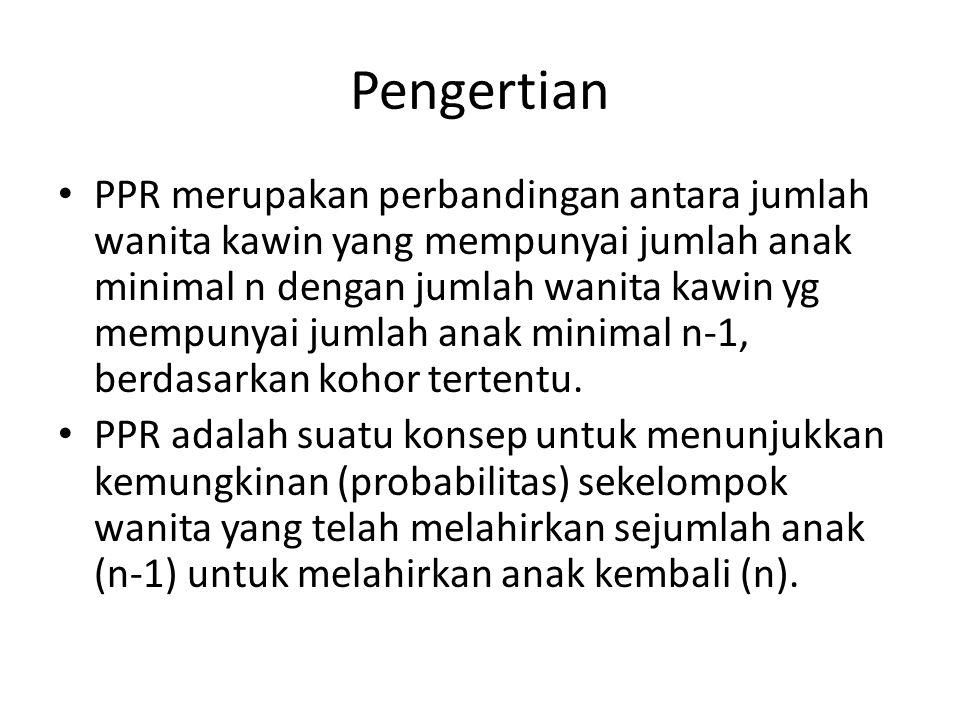Pengertian PPR merupakan perbandingan antara jumlah wanita kawin yang mempunyai jumlah anak minimal n dengan jumlah wanita kawin yg mempunyai jumlah anak minimal n-1, berdasarkan kohor tertentu.