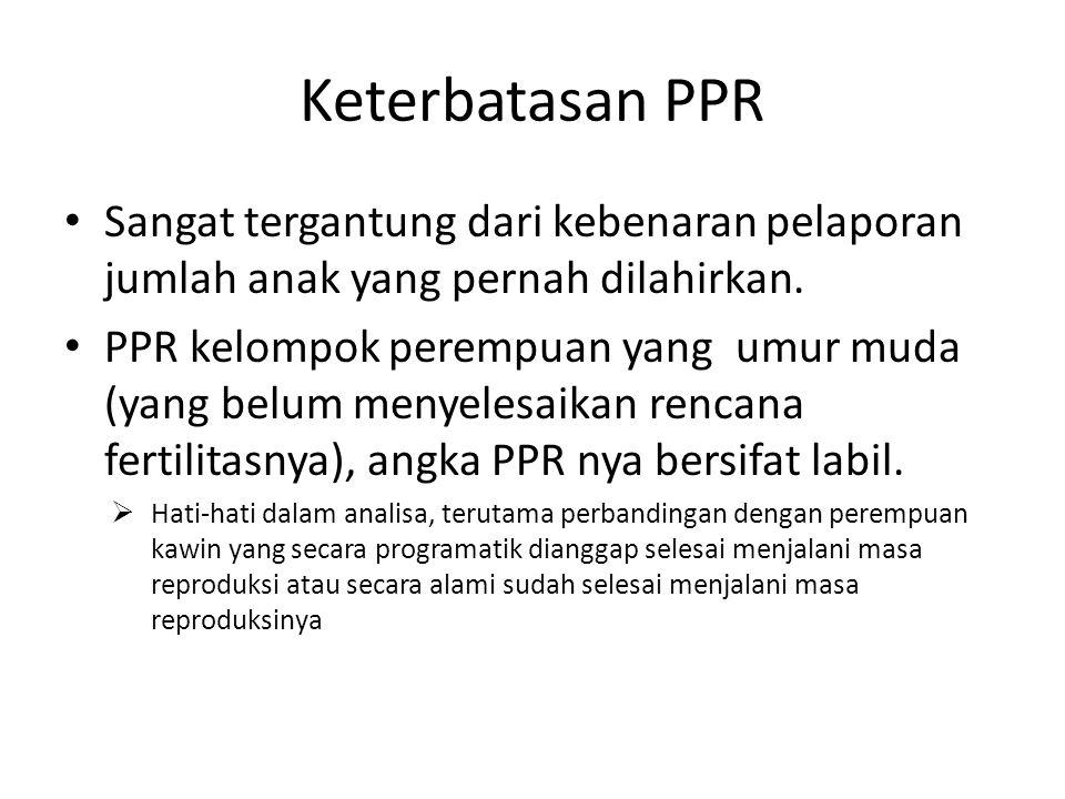 Keterbatasan PPR Sangat tergantung dari kebenaran pelaporan jumlah anak yang pernah dilahirkan. PPR kelompok perempuan yang umur muda (yang belum meny