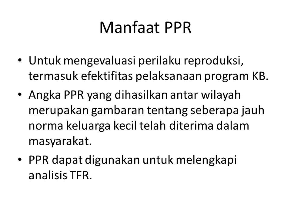 Manfaat PPR Untuk mengevaluasi perilaku reproduksi, termasuk efektifitas pelaksanaan program KB. Angka PPR yang dihasilkan antar wilayah merupakan gam