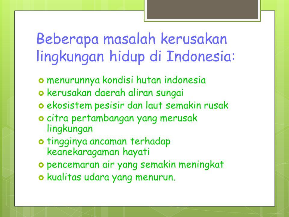 Beberapa masalah kerusakan lingkungan hidup di Indonesia:  menurunnya kondisi hutan indonesia  kerusakan daerah aliran sungai  ekosistem pesisir dan laut semakin rusak  citra pertambangan yang merusak lingkungan  tingginya ancaman terhadap keanekaragaman hayati  pencemaran air yang semakin meningkat  kualitas udara yang menurun.
