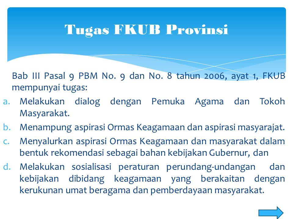 Di Provinsi Sulawesi Utara, sebagaimana amanat pasal 8 ayat 2 PBM No.