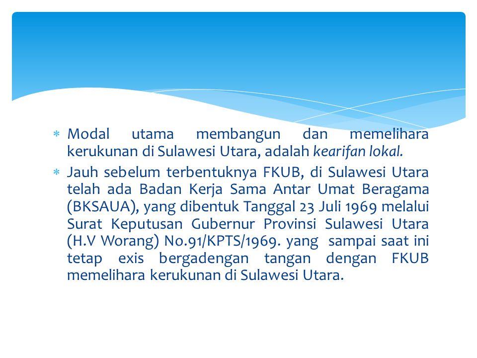  Menurut Pdt.DR.R.A.D Siwu (Presidum BKSAUA), secaara cultural masyarakat Sulawesi Utara, memilih dan mengambil keuntungan dari keberaagaman itu, yakni : Hidup bersama dengan rukun dan mengedepankan prinsip toleransi yang dibangun dari keterbukaan sikap dan memahami perbedaan