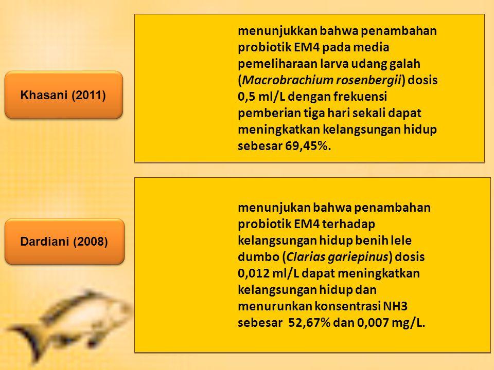 menunjukkan bahwa penambahan probiotik EM4 pada media pemeliharaan larva udang galah (Macrobrachium rosenbergii) dosis 0,5 ml/L dengan frekuensi pemberian tiga hari sekali dapat meningkatkan kelangsungan hidup sebesar 69,45%.