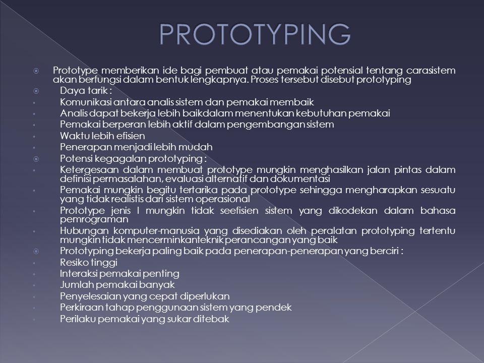  Prototype memberikan ide bagi pembuat atau pemakai potensial tentang carasistem akan berfungsi dalam bentuk lengkapnya. Proses tersebut disebut prot