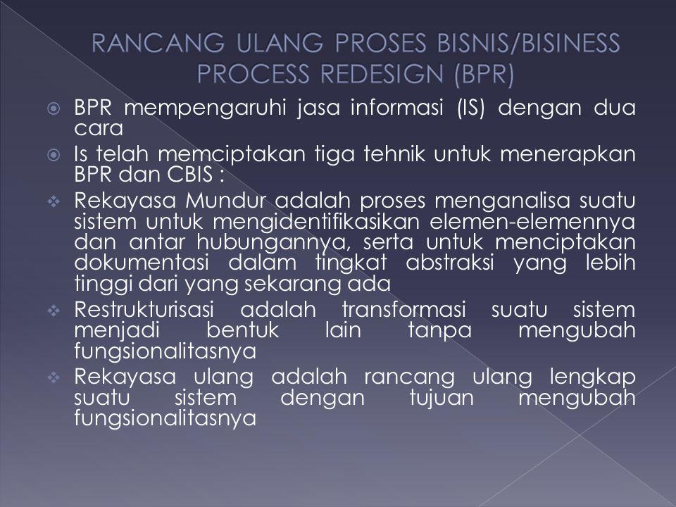  BPR mempengaruhi jasa informasi (IS) dengan dua cara  Is telah memciptakan tiga tehnik untuk menerapkan BPR dan CBIS :  Rekayasa Mundur adalah pro