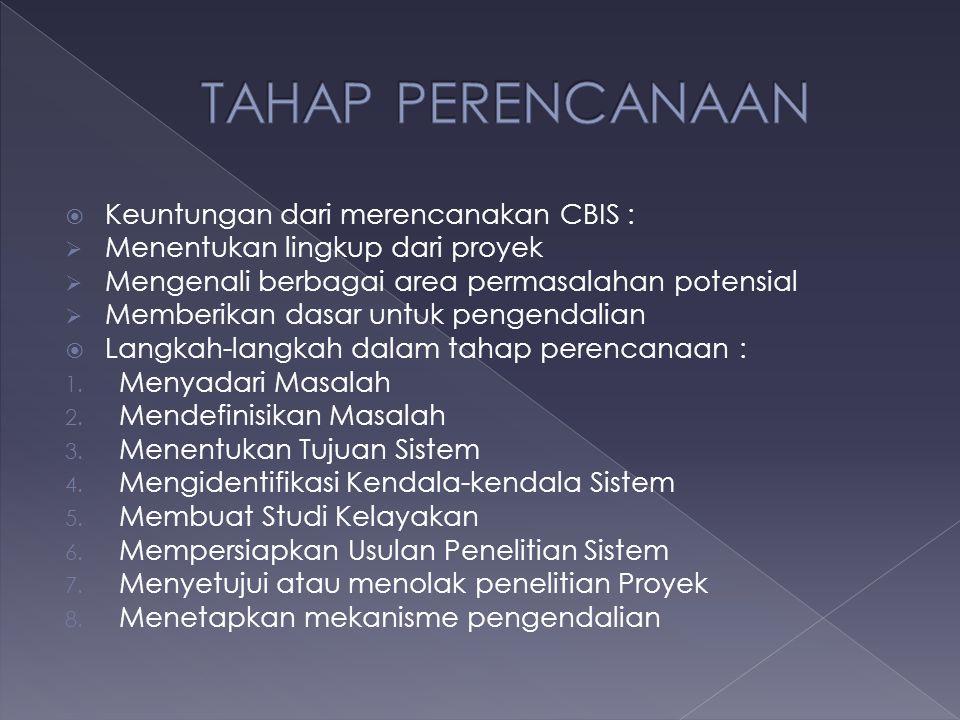  Keuntungan dari merencanakan CBIS :  Menentukan lingkup dari proyek  Mengenali berbagai area permasalahan potensial  Memberikan dasar untuk penge