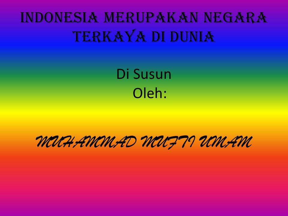 INDONESIA MERUPAKAN NEGARA TERKAYA DI DUNIA Di Susun Oleh: MUHAMMAD MUFTI UMAM