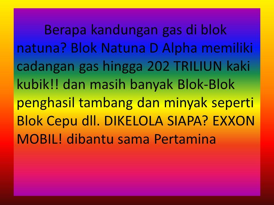 Berapa kandungan gas di blok natuna? Blok Natuna D Alpha memiliki cadangan gas hingga 202 TRILIUN kaki kubik!! dan masih banyak Blok-Blok penghasil ta
